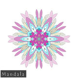 Vector flower mandala icon isolated on white stock photos