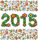 Vector flower numbers 2015. And Christmas and New Year objects vector illustration