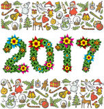 Vector flower numbers 2017. And Christmas, and New Year objects Stock Photos