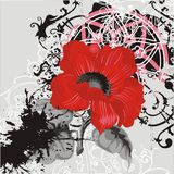 Vector flower ornament with red poppy. Abstract grunge background with red flower Royalty Free Stock Image