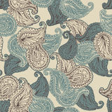 Vector flower paisley seamless pattern. Royalty Free Stock Image