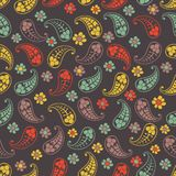 Vector flower paisley seamless pattern element Stock Photo