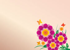 Vector flower paper with butterfly on pink color background Royalty Free Stock Image