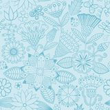 Vector flower pattern. Black and white seamless botanic texture royalty free illustration