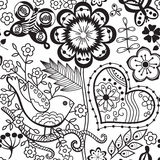 Vector flower pattern. Black and white seamless botanic texture, detailed flowers illustrations. All elements are not cropped and Stock Image