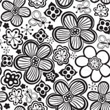 Vector flower pattern. Black and white seamless botanic texture, detailed flowers illustrations.  Stock Photos