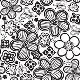 Vector flower pattern. Black and white seamless botanic texture, detailed flowers illustrations. stock illustration