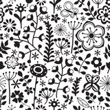 Vector flower pattern. Black and white seamless botanic texture, detailed flowers illustrations. All elements are not cropped and Royalty Free Stock Photos