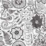 Vector flower pattern. Black and white seamless botanic texture, detailed flowers illustrations. All elements are not cropped and royalty free illustration