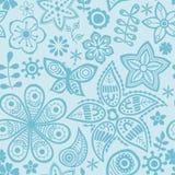 Vector flower pattern. Black and white seamless botanic texture stock illustration