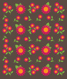 Vector of Flower Pattern on Brown Background Stock Images