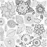 Vector flower pattern. Colorful seamless botanic texture, detailed flowers illustrations. All elements are not cropped royalty free illustration
