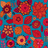 Vector flower pattern. Colorful seamless botanic texture, detailed flowers illustrations. All elements are not cropped Royalty Free Stock Photography