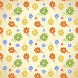 Vector flower pattern. Seamless background. Green yellow blue re Royalty Free Stock Images