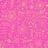 Vector flower pattern. Seamless botanic texture, detailed flowers illustrations. All elements are not cropped and hidden under mas Stock Photography