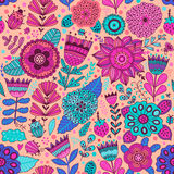 Vector flower pattern. Seamless botanic texture, detailed flowers illustrations. All elements are not cropped and hidden under mas Stock Images