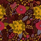 Vector flower pattern. Seamless botanic texture, Stock Photo