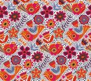 Vector flower pattern, seamless botanic texture Stock Photos