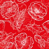 Vector Flower Pattern. Seamless red floral pattern wiht poppies bouquet Stock Photo