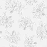 Vector flower pink hibiscus seamless pattern Stock Photos