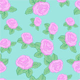 Vector flower pink roses seamless pattern Stock Photos
