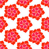 Vector Flower From Red Heart Seamless Pattern. Over White.. Texture for romantic designs, valentine s day and other love projects Stock Illustration