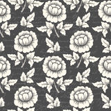 Vector flower seamless pattern background with ancient text. Elegant texture for backgrounds. Stock Photography