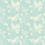 Vector flower seamless pattern background. Elegant texture for backgrounds. With butterfly and flowers Stock Photos