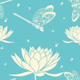 Vector flower seamless pattern element. Elegant texture for backgrounds. With dragonfly and lotus flower Stock Photo