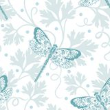 Vector flower seamless pattern element. Elegant texture for backgrounds. With dragonfly and parsley Royalty Free Stock Photo