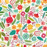Vector flower seamless pattern. Floral background stock illustration