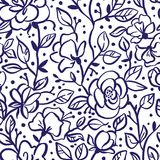 Vector flower seamless pattern with roses. Textures made with black ink. royalty free illustration