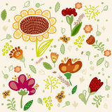 Vector flower set with sunflower. Royalty Free Stock Images