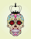 Vector flower skull with crown. Royalty Free Stock Image
