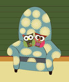 Vector flower sofa with owl pillow. In house Royalty Free Stock Photo