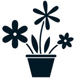 Vector flowerpot simple illustration isolated on white Stock Images