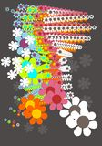 Vector flowers. Digital art colorful  flowers Royalty Free Stock Photo