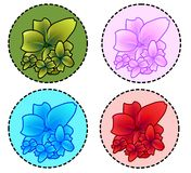 Vector - Flowers. 4 colors of flowers vector illustration