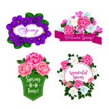Vector flowers bouquets for spring greeting quotes Royalty Free Stock Images