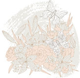 Vector flowers and butterflies Royalty Free Stock Image