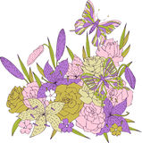 Vector flowers and butterflies Royalty Free Stock Images
