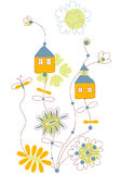 Vector flowers and cottages Royalty Free Stock Photo