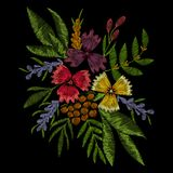 Vector flowers embroidery for fashion decoration, woman modern wearing, traditional design for clothes. Wildflowers, roses. stock illustration
