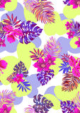 Vector flowers. Vector floral pattern. seamless aloha design on abstract background Stock Photos