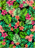Vector flowers. Vector floral pattern. seamless aloha design. scattered flowers on black background Stock Image