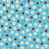 Vector flowers and ladybugs seamless pattern Stock Image