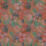 Vector flowers and leaves, pastel colors seamless pattern, plane pink background vector illustration
