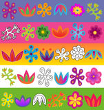 Vector flowers pattern set Royalty Free Stock Photography