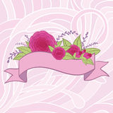 Vector flowers with ribbon Stock Photography