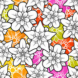 Vector flowers seamless background Stock Photo